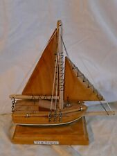 "Wood ship ""The Spirit"" nautical theme room man cave handmade wooden boat with w"
