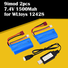 2pcs 7.4V 1500Mah Li-ion Battery T plug/USB Charger for WLtoys 12428 2.4G RC Car