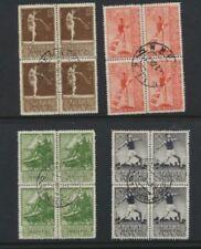 Russia 1938 Athletics #698 - 701 Used Blocks of 4 Scott Value $24.00 Stock Scan