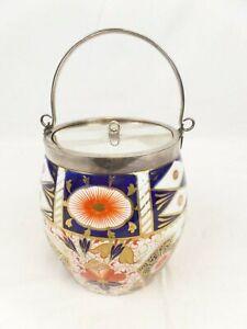 EBD Gaudy Welsh Floral Biscuit Barrel Bone China vintage/Antique