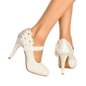 NEW IVORY LACE HIGH HEEL FLOWER DETAIL MARY JANE EVENING WEDDING SHOES SIZE 3-8