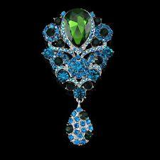 Luxus XXL Brosche Vintage  Braut Strass Kristall  Silber/Blau/Grün 95 mm X 50mm