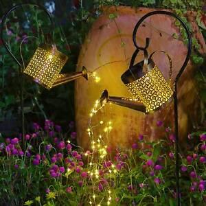 Solar LED Licht Gießkanne Star Shower Garten Lichterkette Außen Wasserfall Dekor