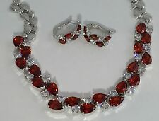 14k White Gold Necklace Earrings Set made w/ Swarovski Crystal Red & Clear Stone