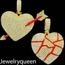 Broken Heart Necklace Pendant With Tennis or Stainless Steel Rope Chain