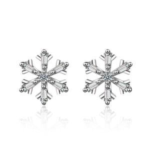 Elegant 925 Sterling Silver Zircon Snowflake Flower Stud Earrings For Women Lady