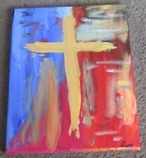 """Acrylic Religious Painting-""""FIRE""""-8 x 10-Cross on Canvas-Free Shipping"""