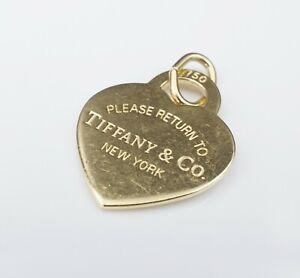 Tiffany & Co 18k Yellow Gold Return to Tiffany Heart Tag Charm Pendant PG1450