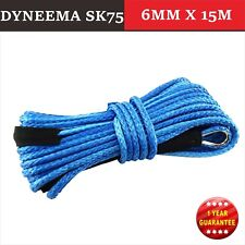 6MM x 15M Dyneema SK75 Winch Rope Synthetic strap Blue 4WD AVT Boat Recovery