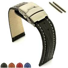 Two-Piece Genuine Shark Leather Skin Watch Strap Band 18 20 22 24 Clasp MM
