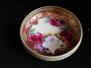 """7"""" Handpainted Antique Nippon Made in Japan Red Rose Elaborate Decorative Bowl"""