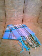 Vtg Nwt V. Fraas Germany Tartan Plaid Scarf Fringe Purples Pinks Teals Greens