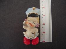 Vintage Crying Bisque Kewpie Doll Figurine - police military hat