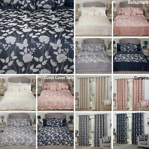 Butterfly Meadow Luxury Jacquard Duvet Cover Sets or Bedspread Set or Curtains