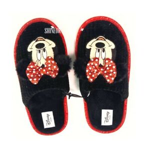 Disney Minnie Mouse Ladies Cosy 3D mules indoor slip on shoes Black PRIMARK New