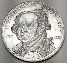 2000 Liberia $20 John Adams Proof, details-KM 870-SILVER-Free USA Shipping