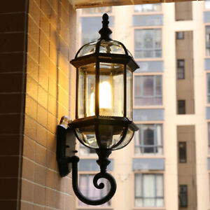 Cottage Style Clear Glass Black Metal Lantern Outdoor Garden Wall Lights Sconces