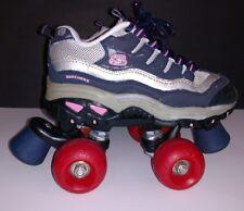 Girls Skechers Sport Quad 4 Wheelers Roller Skates Sz 3 Blue Silver Pink 9910L