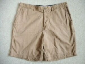 """Mens Shorts-LANDS' END-brown 100% cotton """"Traditional Fit"""" flat front-36"""