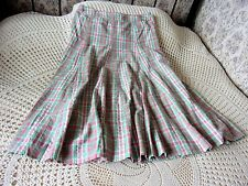 Checked cotton skirt by COTTON TRADERS Size 16 Deep coral mid green white