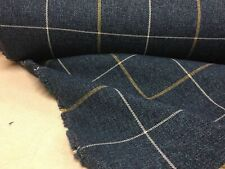 Arran Blue Ochre t  Wool Type Pin Check   Upholstery/Curtain/Craft Fabric