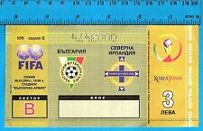 Rare Bulgaria vs Northern Ireland  Football Ticket FIFA 2002 Qualifying match