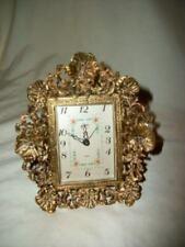 Matson Filigree Ormolu Clock Floral Vanity Desk Linden Vintage Mid Century