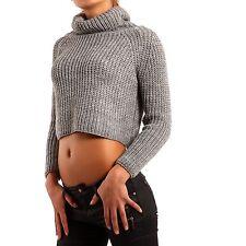 Bauchfreie Damen-Pullover & -Strickware mit grober Strickart ohne Verschluss