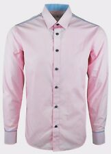 MENS PINK WITH PRINT TRIMS FORMAL CASUAL DRESS SHIRT S-3XL ONLY £15.99 (385)