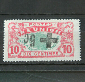 FRENCH COLS - REUNION 1915 10C ERROR WITH INV RED CROSS SURCH IN BLACK C/V £450