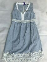 SERAPHINE Blue Pinstripe Cotton Maternity Dress SIZE UK 8