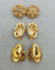 Vintage clip-on earrings 3 prs textured gold-tone metal 1960s-70s
