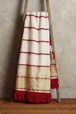 NWT$128 Anthropologie Tiveden Fringe Throw Blanket Red & Gold Metallic Wool