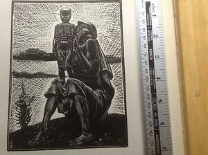 Stunning 1920s Woodcut Print Mother and Child by F M Medworth
