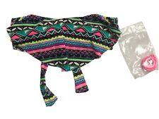 Junior's Malibu Swimsuit Bikini Top Tie Back Geometric Multi 1 Piece Small NWT