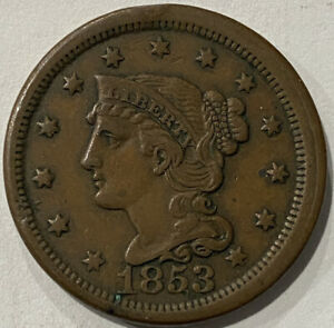 1853 Braided Hair Large Cent. Early American Copper Type Coin. XF
