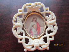 Jesus w Little Boy Framed in Angels md in Italy Vintage  Religious ICON Picture