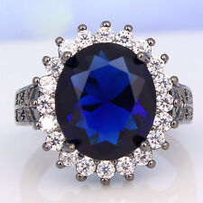 Fashion 925 Silver Black Gold Filled Sapphire Ring Wedding Engagement Size 9