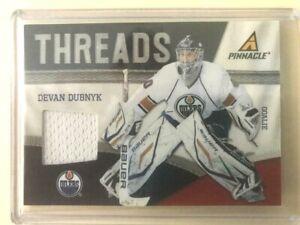 Devan Dubnyk #58 2010-11 Pinnacle Threads Edmonton Oilers Goalie patch card