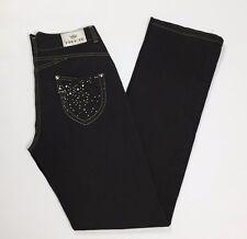 Iber pantalone donna w28 tg 42 dritti stretch usato pantalone nero jeans T2510