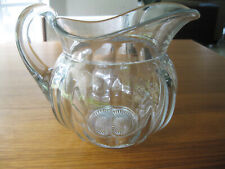 """ANTIQUE HEISEY ELEGANT GLASS WATER PITCHER 64 OZ CLEAR COLONIAL PANEL 7 1/2"""""""