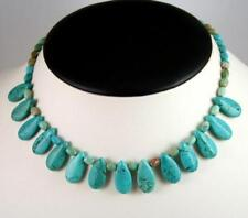 Turquoise Tear Drop Princess Necklace with Sterling Silver Clasp