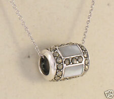 Marcasite Silver Mother of  Pearl Round Tube Slider Pendant w/ Chain