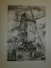 Gravure moulin a vent par P. Valade Nord Moulin de Sainte Marie Cappel
