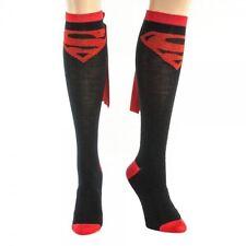 Superman Black Knee High Socks with Cape Licensed DC Comics