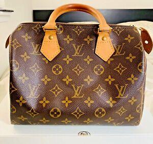 Louis Vuitton Monogram SPEEDY 25 Golden Brass Hardware Preowned 100% Authentic