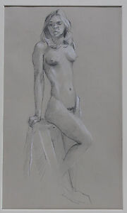 AMERICAN DRAWING, FEMALE NUDE BY ALF SVENDSEN