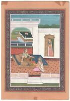 Mughal Queen Handmade Painting Miniature Decor Old Paper Watercolor Painting Art