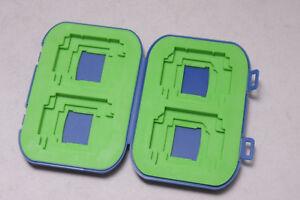 4-Pocket Multi-use Digital Memory Card Holder Blue Plastic Green Insert NEW D12