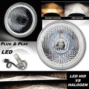 "7"" Stock Headlight Headlamp White SMD Halo Angel Eye Light 18/24w LED Bulb EACH"